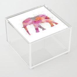Artsy watercolor Elephant bright orange pink colors Acrylic Box