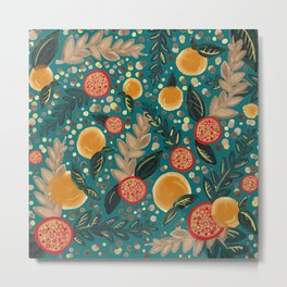 teal orange pomegranate fruit art print Metal Print