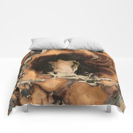 Old Brown Marble texture acrylic Liquid paint art Comforters