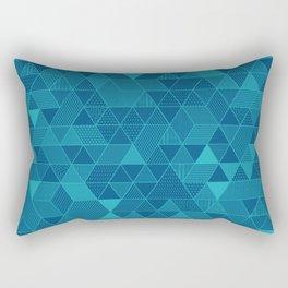Blue on Blue Triangles Pattern Rectangular Pillow