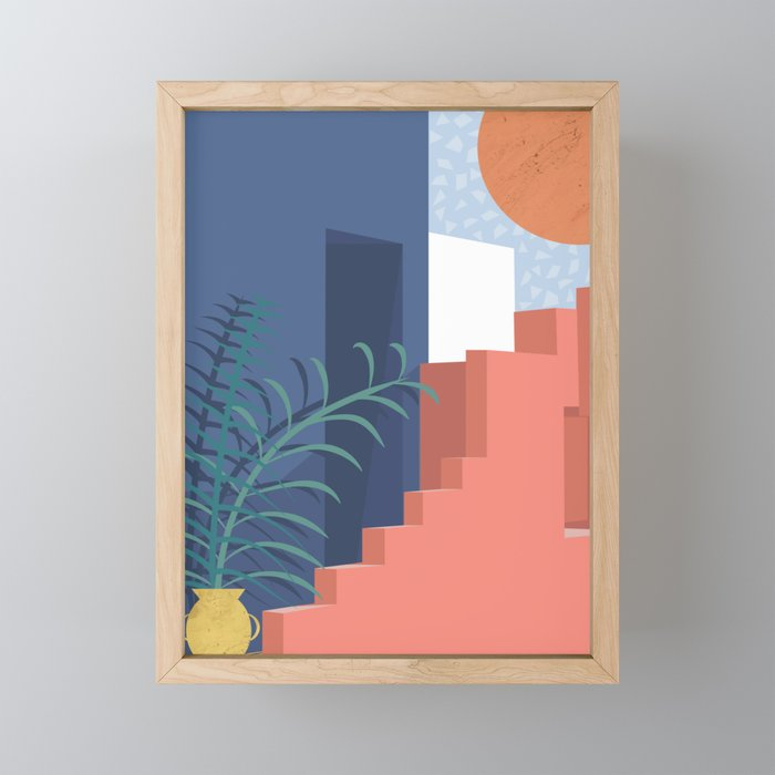 A Mediterranean view with plants and sun Framed Mini Art Print