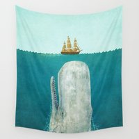 mad hatter Wall Tapestries featuring The Whale  by Terry Fan