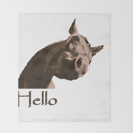 funny horse hello Throw Blanket