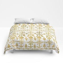 Norwegian Pattern – Gold on White Comforters