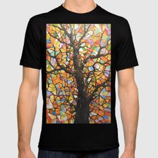 Stained Glass Tree #2 Mens Fitted Tee Black MEDIUM
