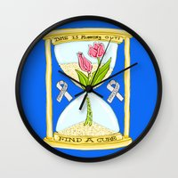 the cure Wall Clocks featuring Parkinson's Find a Cure by J&C Creations