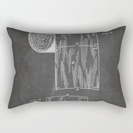 Toilet Paper Patent - Bathroom Art - Black Chalkboard Rectangular Pillow