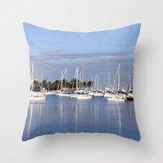 Biscayne Bay Sailboats Throw Pillow