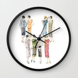 Vintage Flapper Fashion Dress Patterns Wall Clock
