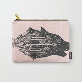 Adventure Wolf - Nature Mountains Wolves Howling Design Black on Pale Pink Carry-All Pouch
