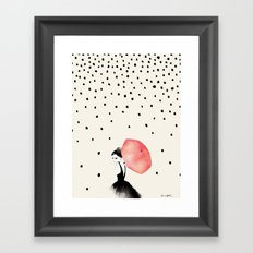 Polka Rain Framed Art Print