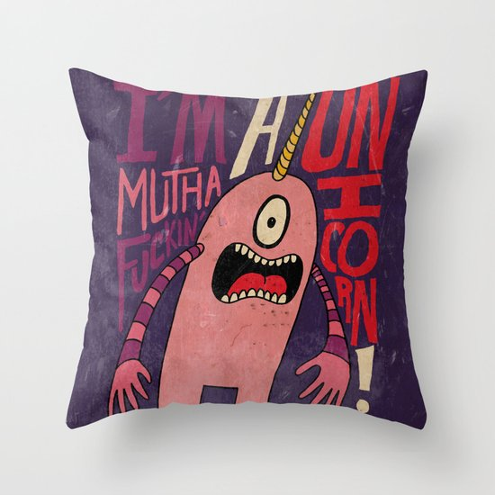 Mutha F'n Unicorn Throw Pillow