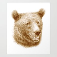 Brown bear is happy Art Print
