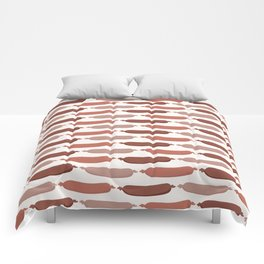 Cute vector sausages cartoon. Seamless repeat pattern illustration Comforters