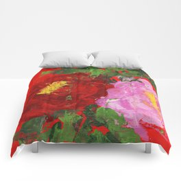 Red and Pink Peonies Comforters