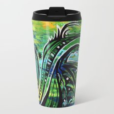 green and blue Travel Mug