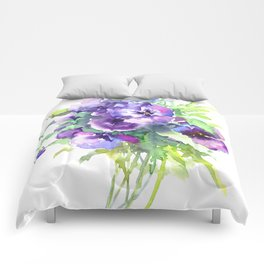 Pansy, flowers, violet flowers, gift for woman design floral vintage style Comforters