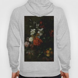"Ernest Stuven ""Poppies, lilies, roses and other flowers in a glass vase on a draped marble ledge"" Hoody"
