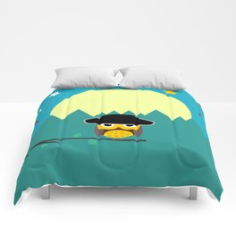 Clear night with a cute owl on a tree branch Comforters
