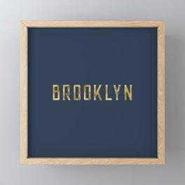 Brooklyn in Gold on Navy Framed Mini Art Print