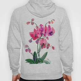 Pink Orchids, orchi design floral bright pink Hoody