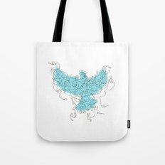 Bird Fly 3 - Aqua/Brown Tote Bag