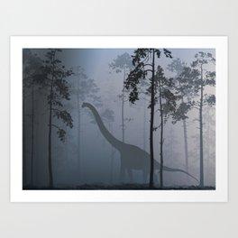 Dinosaur by Moonlight Art Print
