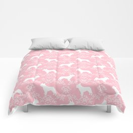 French Bulldog floral minimal pink and white pet silhouette frenchie pattern Comforters