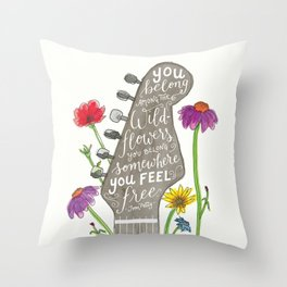 You belong among the wildflowers. Tom Petty quote. Watercolor guitar illustration. Hand lettering. Throw Pillow