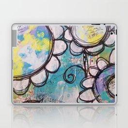 Aqua Flower Doodles Drawing Laptop & iPad Skin