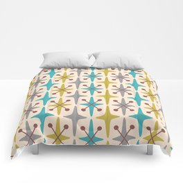 Mid Century Modern Abstract Star Pattern 441 Gray Brown Turquoise Olive Green Comforters
