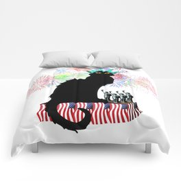 Lady Liberty - Patriotic Le Chat Noir Comforters