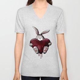 Gothic Bloody Love Bunny Unisex V-Neck
