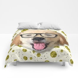 Golden Dog with Glasses Comforters