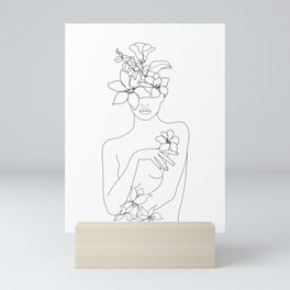 Minimal Line Art Woman with Flowers IV Mini Art Print