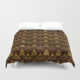 Hamsa Hand pattern -gold on brown glass Duvet Cover