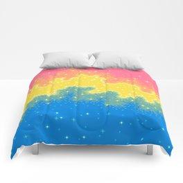Pan Pride Flag Galaxy Comforters