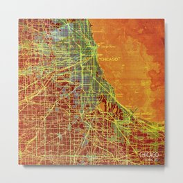10-Chicago Illinois 1947, old map, orange and red Metal Print