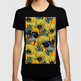 Fairy wren and poppies in yellow T-shirt
