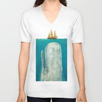 instagram V-neck T-shirts featuring The Whale  by Terry Fan