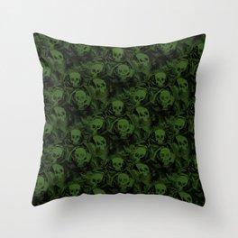 Spooky Green Skulls Throw Pillow