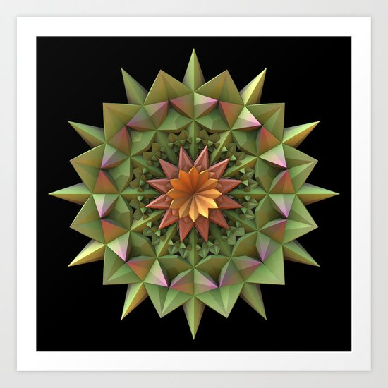 Cactus Flower Mandala Art Print