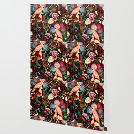 Floral and Animals pattern II Wallpaper