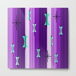 Groovy Lined Mid Century Modern Purple Metal Print