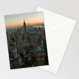 New York Skyline - Manhattan Night Stationery Cards