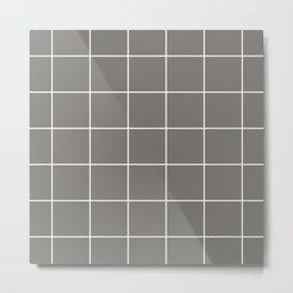 White Grid - Grey BG Metal Print