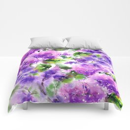 Lilac flowers. Watercolor lilac blossom. Violet florals. Comforters
