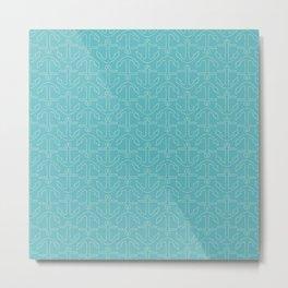 Beach Series Aqua - White Anchors on turquoise background Metal Print