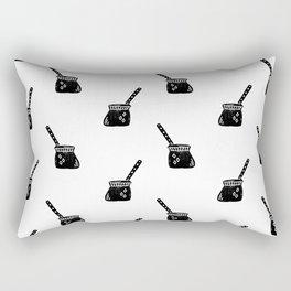 Turkish Coffee Pot food linocut coffee foodie black and white Rectangular Pillow