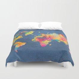 world map blue 2061 #map #worldmap Duvet Cover